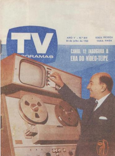 Capa da Revista TV Programas de 1965 quando chegou a novidade o Video Tape