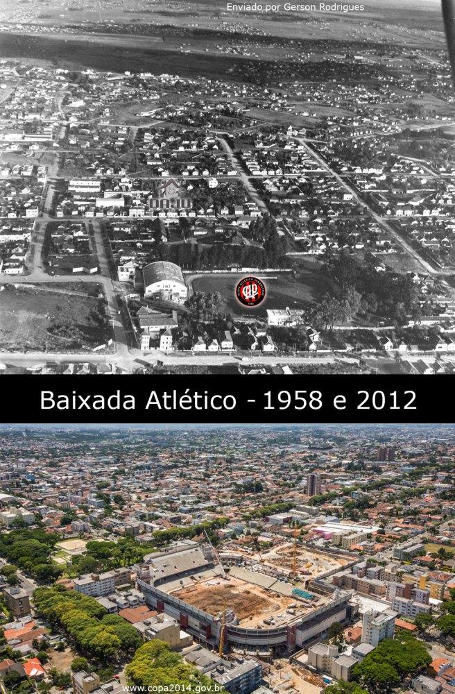 Baixada do Atlético em 1958 e 2012 antes e depois foto aérea