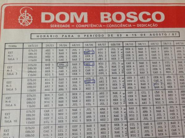 Tabela com horários do Colégio Dom Bosco de 1987