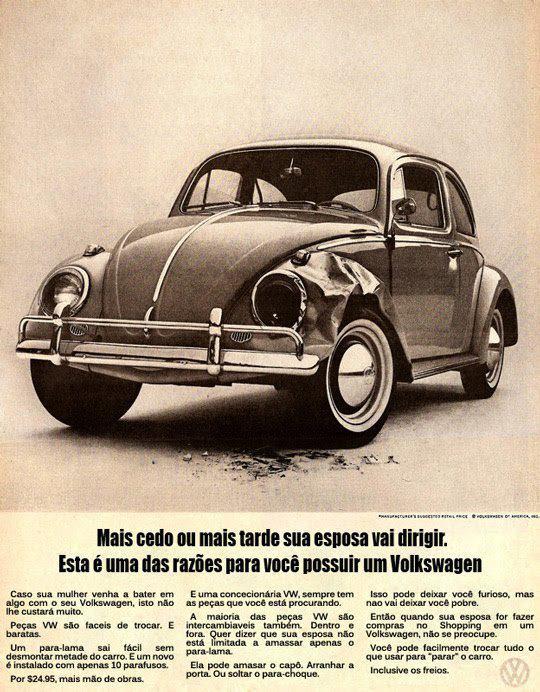 Propaganda Antiga do Fusca VW sacaneando com as mulheres
