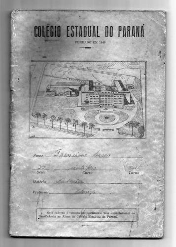 Caderno Colégio Estadual do Paraná na década de 50