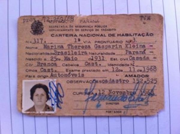 Carteira Nacional de Habilitação de 1968