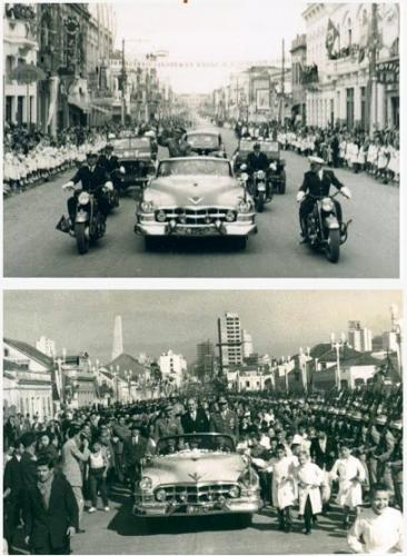 Cadillac conversível 1952 em desfile por Curitiba