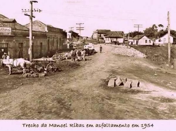 Manoel Ribas em asfaltamento em 1954