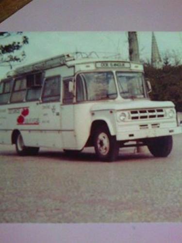 Onibus da coleta de sangue na Praça Rui Barbosa  em 1989.