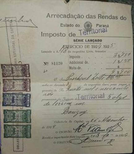 Documentos antigos Imposto Territorial 1924